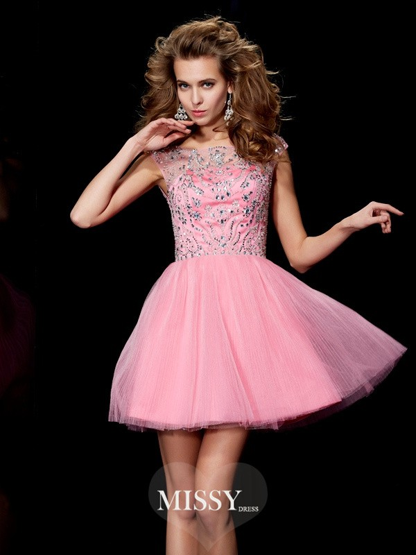 Princess Bateau Sleeveless Beading Short/Mini Satin Dresses
