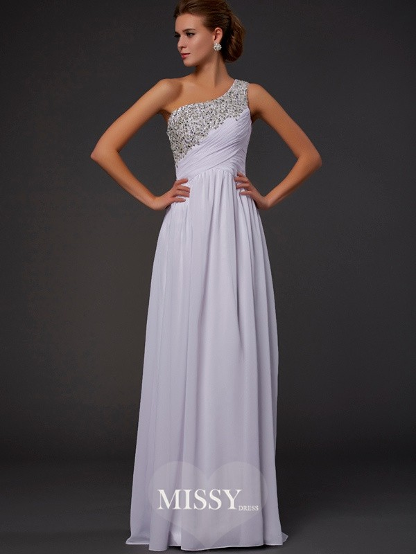 Sheath/Column One-Shoulder Chiffon Floor-length Beading Dresses