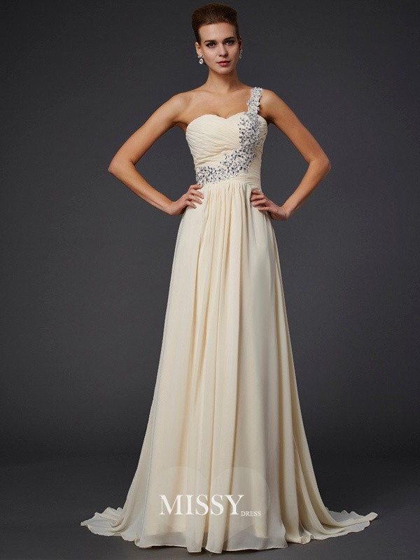 A-Line Sleeveless One-Shoulder Beading Applique Floor-Length Chiffon Dresses
