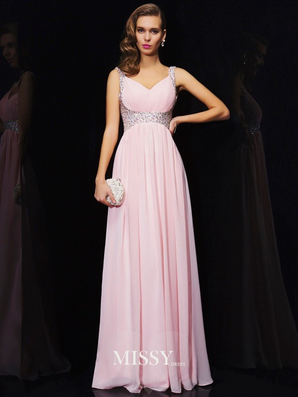 A-Line/Princess Straps V-neck Beading Floor-Length Chiffon Dresses