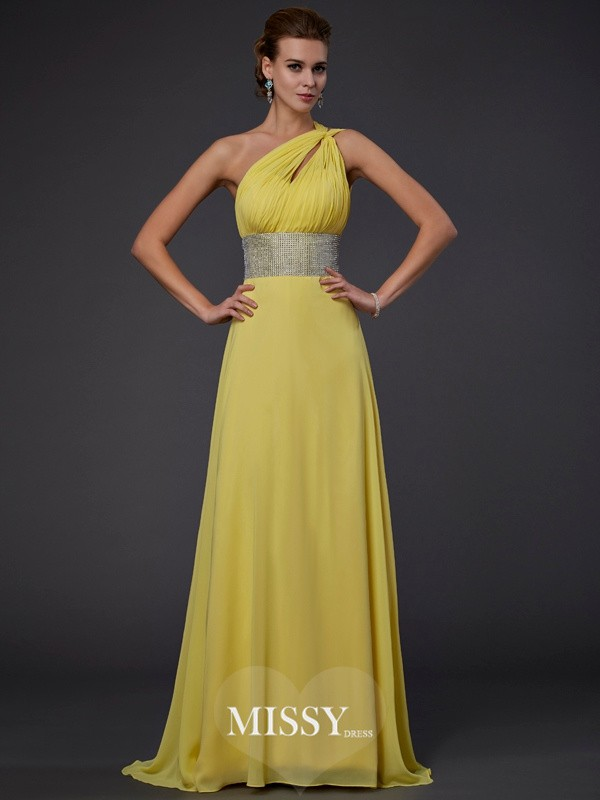One-shoulder Beading Chiffon Floor-length Dresses