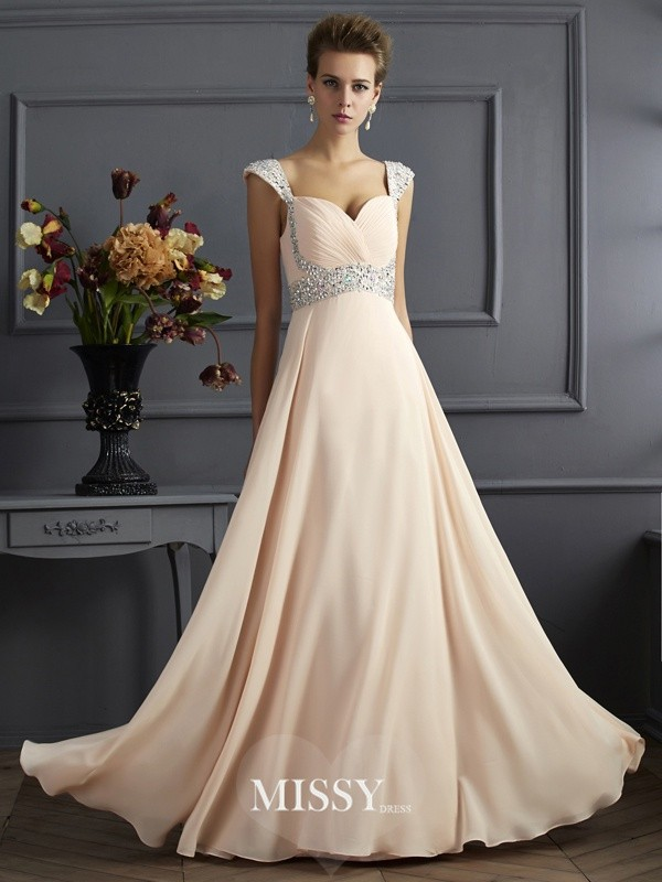 A-Line Straps Sleeveless Beading Chiffon Floor-Length Dresses