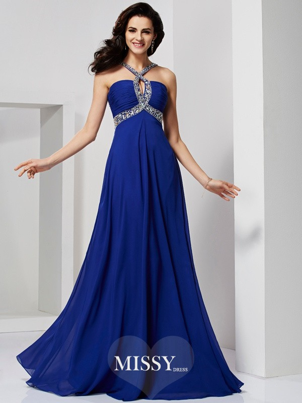 A-line/Princess Beading Sweep/Brush Train Chiffon Dresses