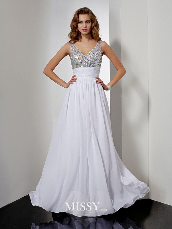 Princess V-neck Rhinestone Sleeveless Floor-length Chiffon Dresses