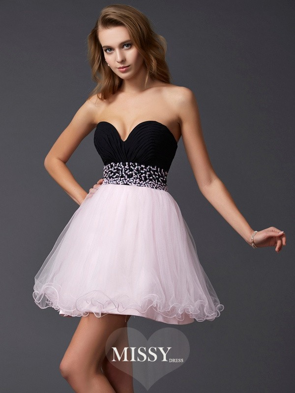 A-Line/Princess Sweetheart Beading Sleeveless Short Elastic Woven Satin Dresses