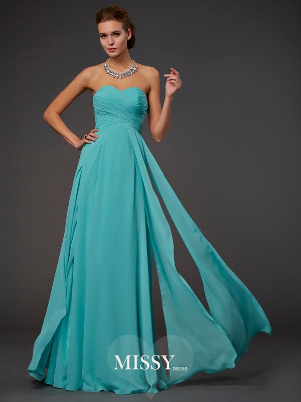 A-Line Sweetheart Sleeveless Pleats Floor-length Chiffon Dresses