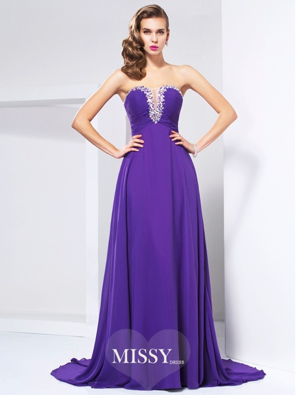 Princess Sweetheart Sweep/Brush Train Chiffon Beading Sleeveless Dresses