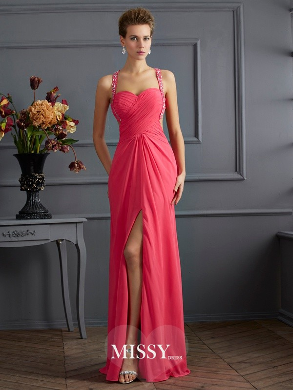 Empire Sweetheart Sleeveless Chiffon Beading Floor-length Dresses