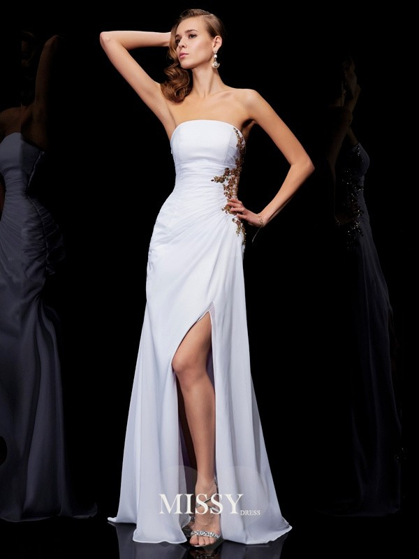 Column Sleeveless Floor-Length Strapless Applique Chiffon Dresses