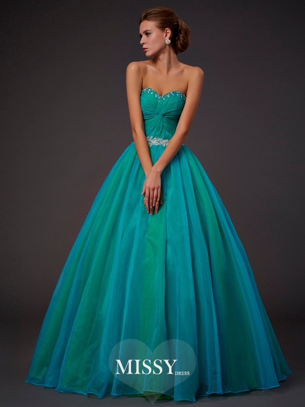 Ball Gown Sleeveless Sweetheart Beading Pleats Floor-length Tulle Dresses