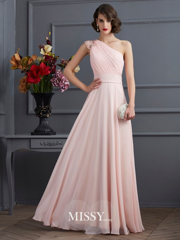 Princess One-Shoulder Beading Sleeveless Long Chiffon Dress