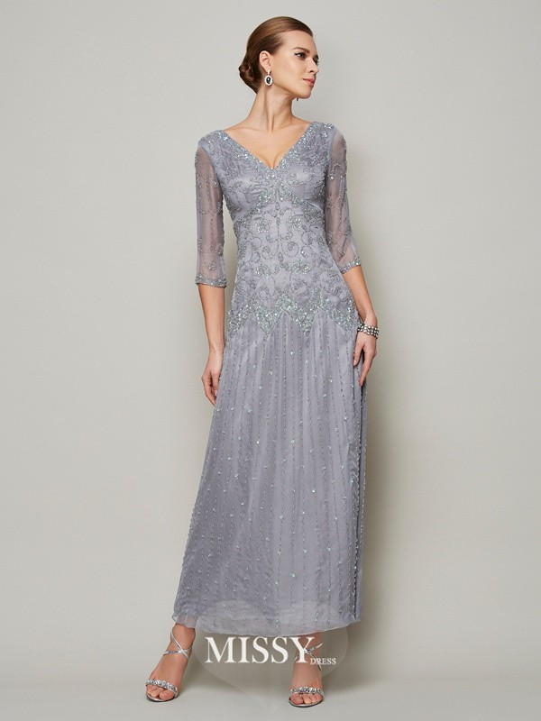Sheath/Column V-neck 1/2 Sleeves Beading Ankle Elastic Woven Satin Mother of the Bride Dresses