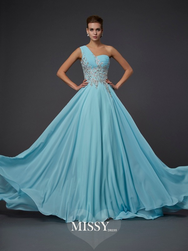 A-Line/Princess One-Shoulder Ruffles Chiffon Floor-Length Dresses