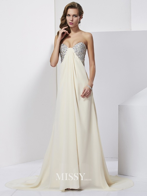 Sheath/Column Chiffon Rhinestone Sweetheart Sweep/Brush Train Dresses