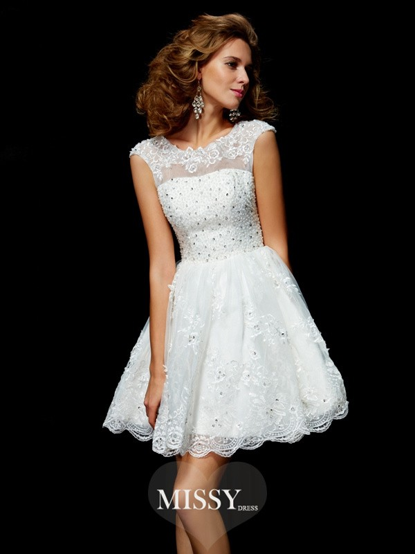 A-Line/Princess Short Sleeves Applique Organza V-neck Short/Mini Dresses