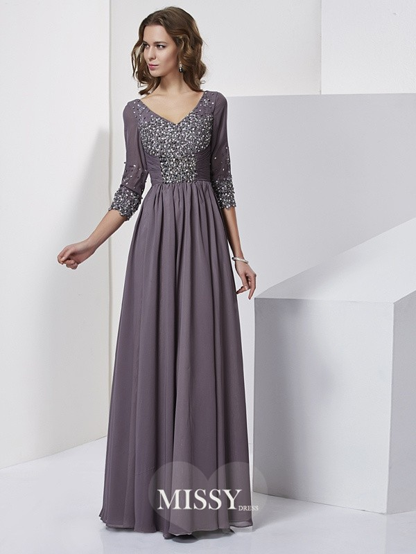 Sheath/Column V-neck Long 3/4 Sleeves Chiffon Beading Dresses