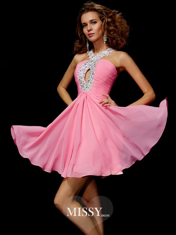 A-Line/Princess Beading Sequin V-Neck Short/Mini Chiffon Dresses