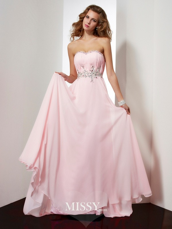 A-line/Princess Beading Sweetheart Applique Sleeveless Sweep/Brush Train Chiffon Dresses