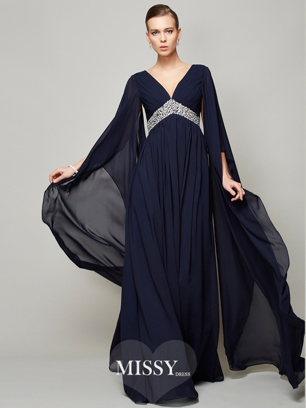 A-Line/Princess Chiffon V-neck Beading Long Sleeves Floor-Length Dresses