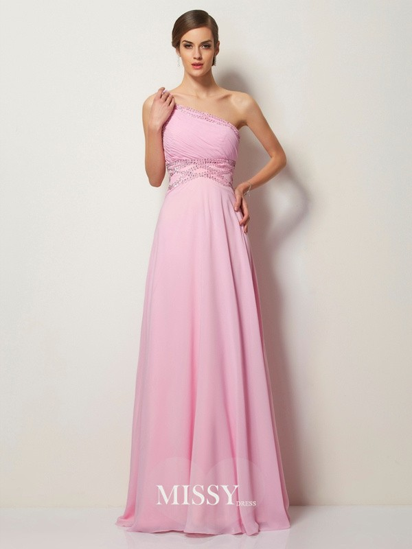 A-Line/Princess One-Shoulder Beading Chiffon Sleeveless Sweep/Brush Train Dresses