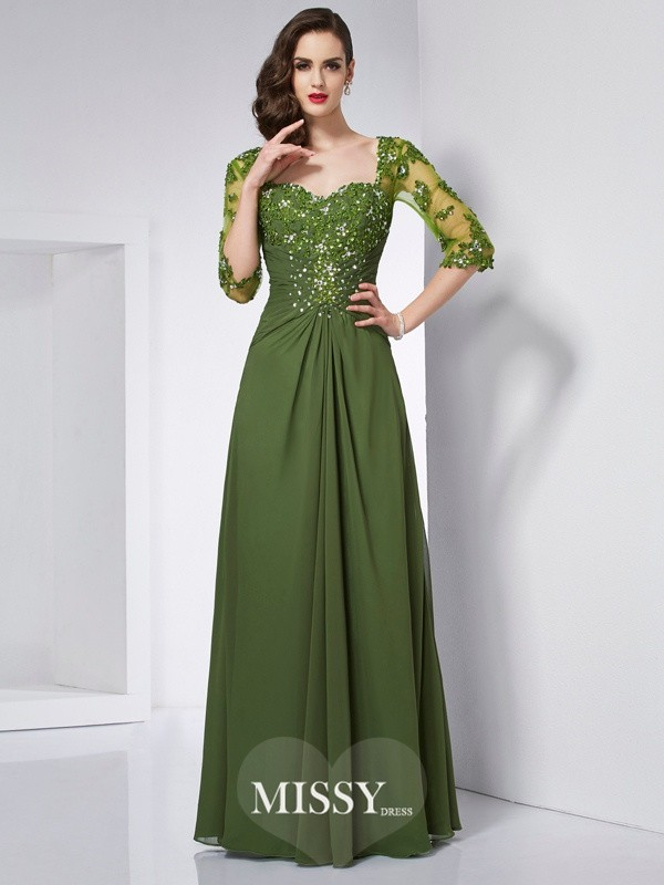 A-Line/Princess Sweetheart 3/4 Sleeves Beading Applique Chiffon Long Dresses
