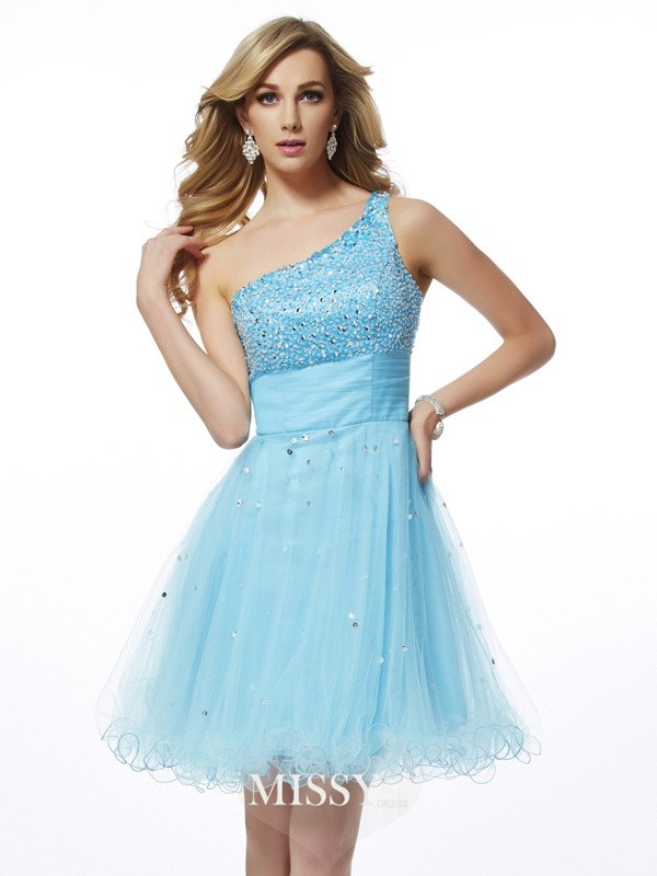 A-Line/Princess One-Shoulder Sleeveless Beading Short/Mini Organza Dresses