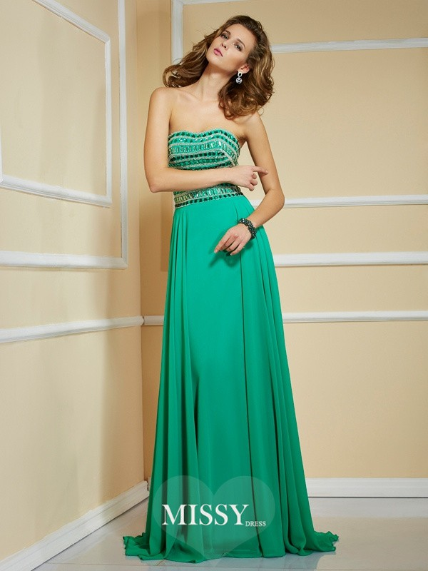 A-Line/Princess Rhinestone Strapless Sleeveless Sweep/Brush Train Chiffon Dresses