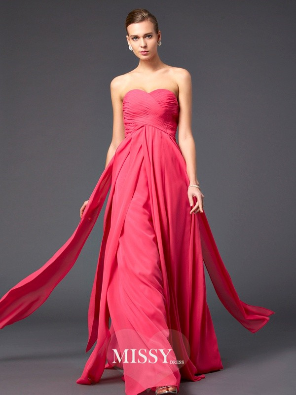 A-Line/Princess Long Sweetheart Chiffon Pleats Sleeveless Dresses