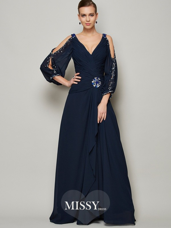 A-Line V-neck Beading Long Sleeves Chiffon Dresses
