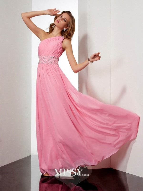 A-Line/Princess Beading Chiffon One-Shoulder Floor-Length Dresses