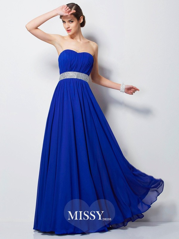 Empire Sweetheart Sleeveless Long Chiffon Dresses