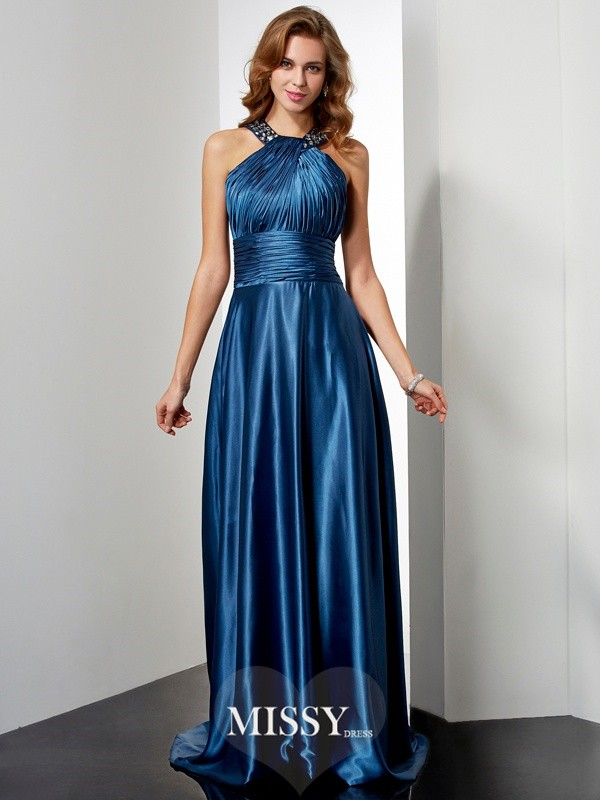 A-Line/Princess Elastic Woven Satin Halter Floor-Length Beading Dresses