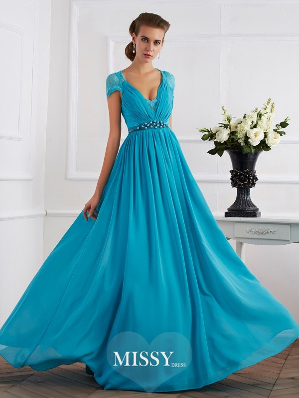 A-Line/Princess V-neck Short Sleeves Beading Chiffon Long Dresses