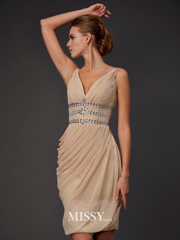 Sheath/Column Sleeveless V-neck Beading Short/Mini Chiffon Dresses
