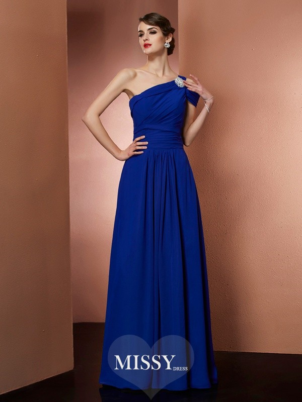 A-Line/Princess One-Shoulder Sleeveless Chiffon Long Dress