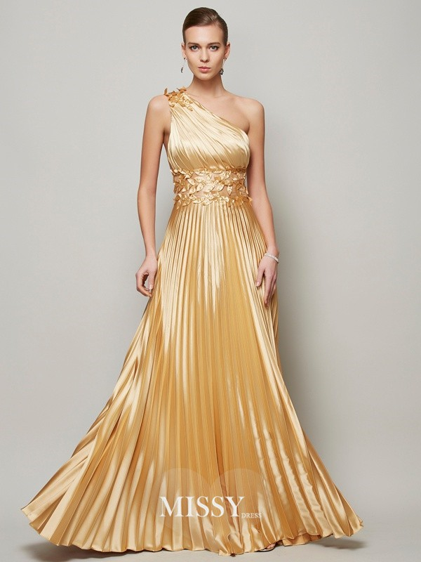 A-Line/Princess Hand-Made Flower One-Shoulder Floor-Length Elastic Woven Satin Dresses