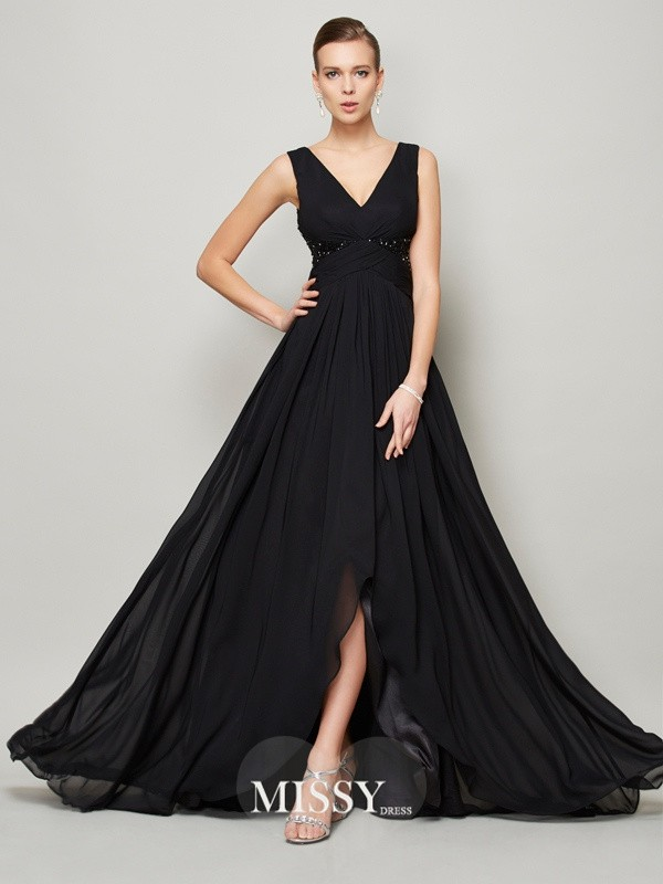 A-line/Princess V-neck Sleeveless Beading Floor-length Chiffon Dresses