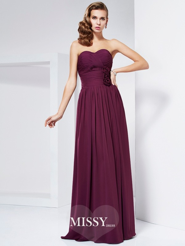 Sheath/Column Hand-Made Flower Sweetheart Sleeveless Pleats Long Dresses