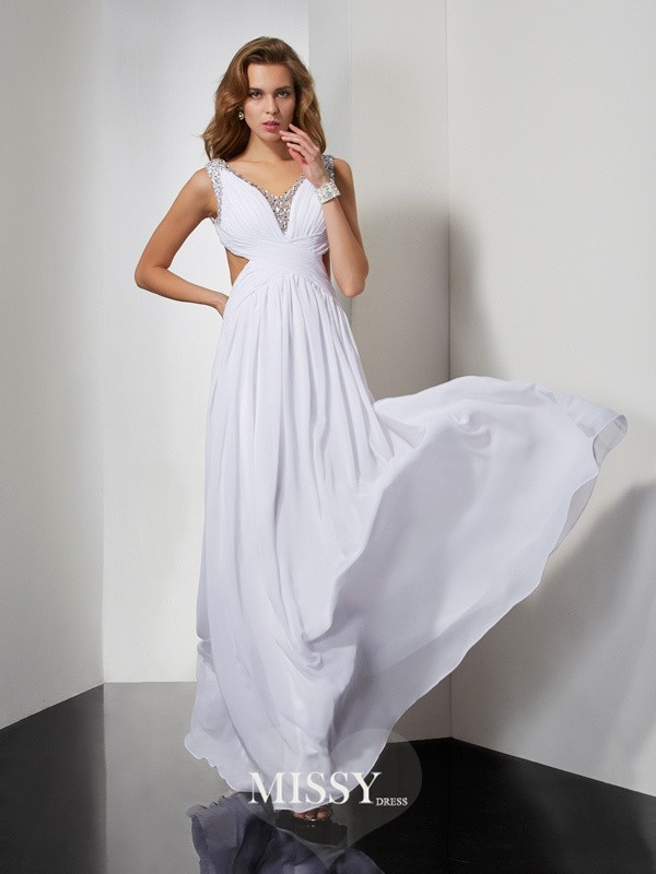 A-line/Princess Sleeveless Straps Beading Long Chiffon Dresses