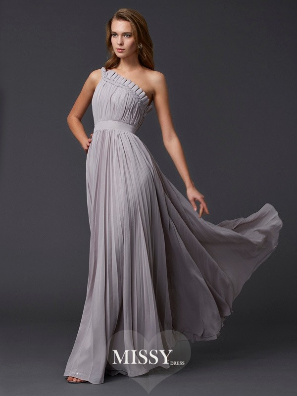 A-Line/Princess Sleeveless Pleats One-Shoulder Long Chiffon Dresses