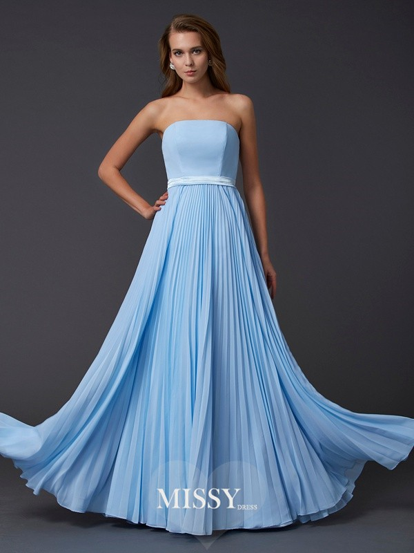 A-Line/Princess Strapless Sleeveless Ruched Chiffon Long Dresses