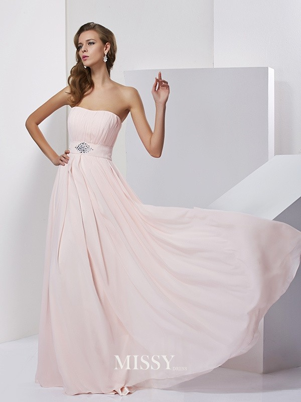 A-Line/Princess Sleeveless Strapless Chiffon Long Dresses