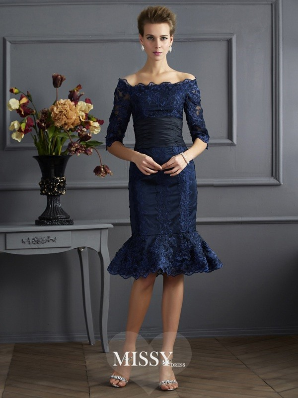 Sheath/Column Off-the-Shoulder 3/4 Sleeves Knee-Length Taffeta Dresses