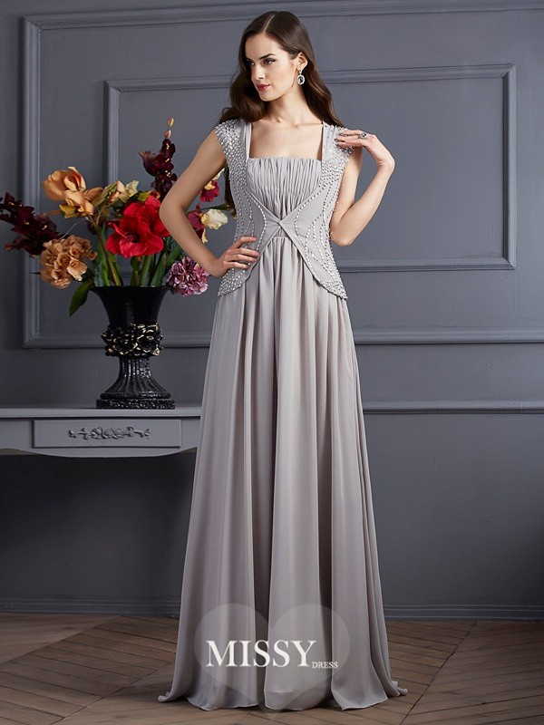A-Line/Princess Sleeveless Square Beading Chiffon Floor-Length Dress