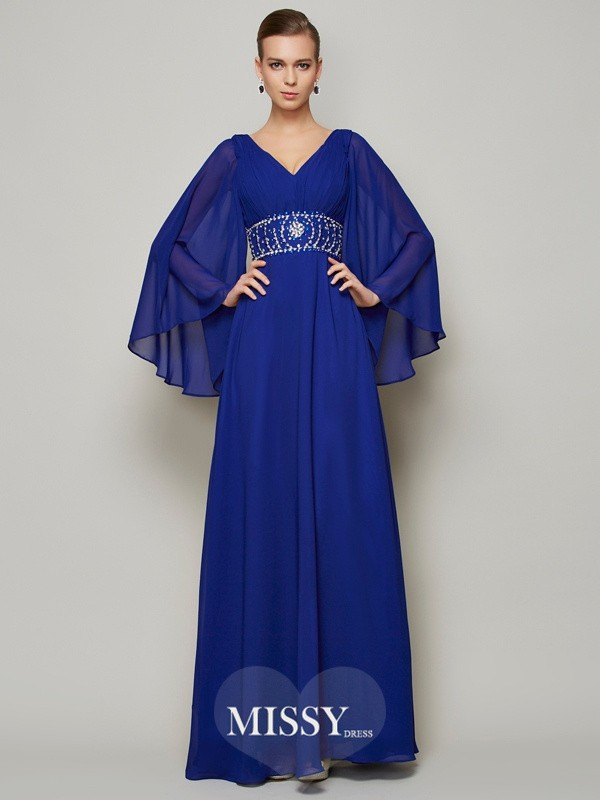 A-Line/Princess V-neck Beading Long Long Sleeves Chiffon Dresses