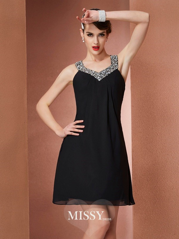 A-Line/Princess Scoop Sleeveless Short/Mini Chiffon Beading Dresses
