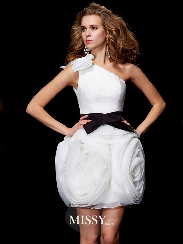 Sheath/Column One-Shoulder Sleeveless Short/Mini Tulle Dress