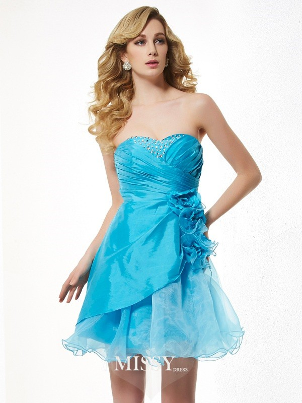 A-Line/Princess Sweetheart Sleeveless Beading Short/Mini Taffeta Dress