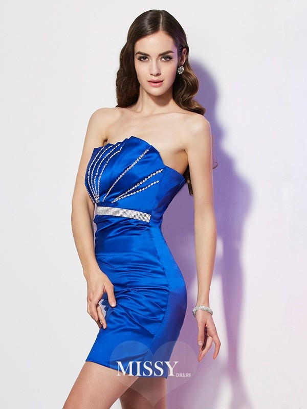 Sheath/Column Strapless Sleeveless Beading Satin Short/Mini Dresses