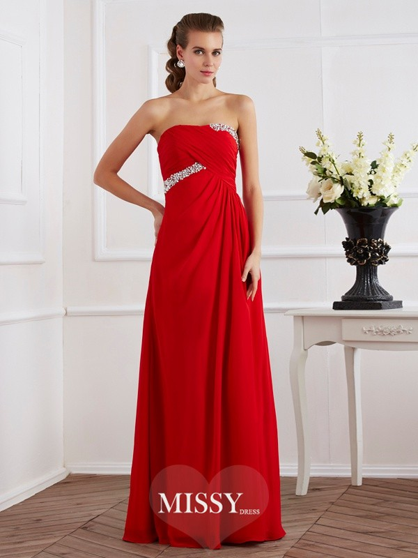 Sheath/Column Sleeveless Strapless Beading Chiffon Floor-Length Long Dress